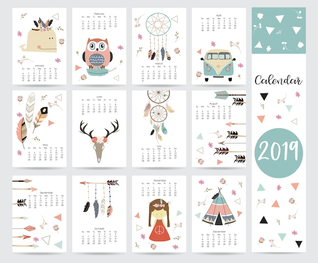 Elegancki miesięczny kalendarz