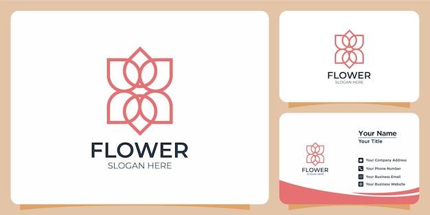 Elegancki minimalistyczny kwiat w stylu linii logo zestaw z brandingiem na wizytówce