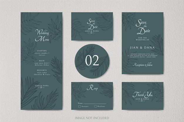 Elegancki minimalistyczny kwiatowy szablon zaproszenia ślubne