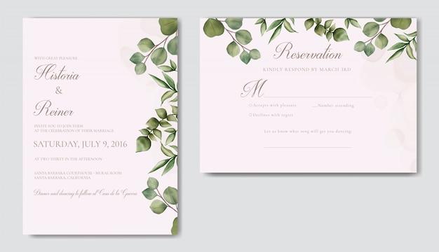 Elegancki minimalistyczny kwiatowy zaproszenia ślubne szablon