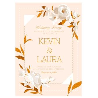 Elegancki minimalistyczny szablon kwiatowy wesele karty