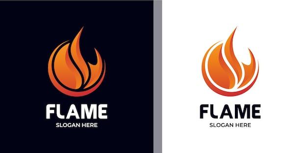 Elegancki minimalistyczny zestaw logo ognia