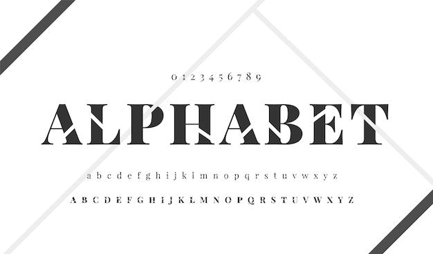 Elegancki minimalny alfabet