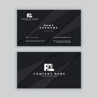 Elegancki minimalny czarny szablon wizytówki