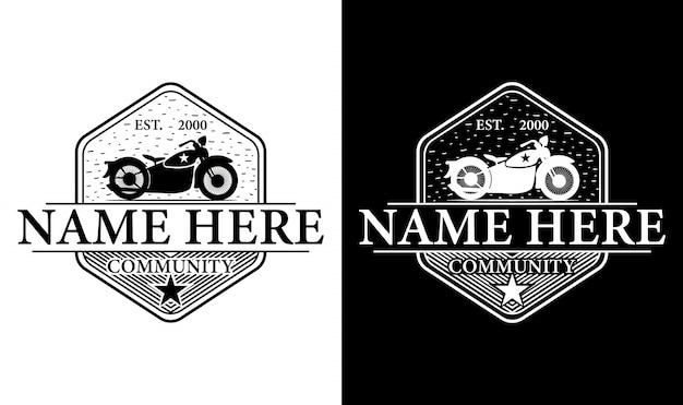 Elegancki motocykl inspirowany stylem vintage retro logo