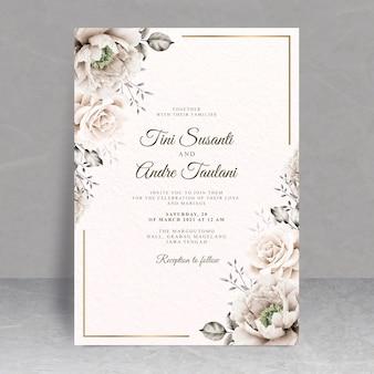 Elegancki motyw kwiatowy karty ślubu