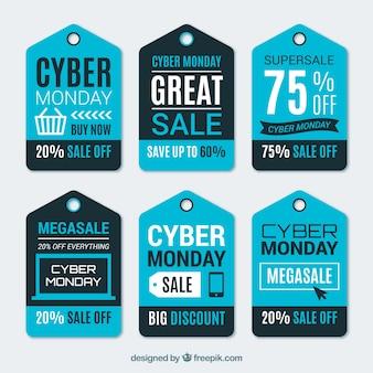 Elegancki niebieski cyber poniedziałek etykiety