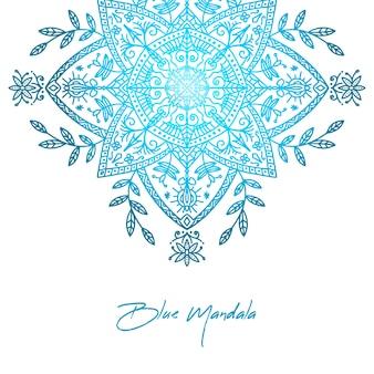 Elegancki niebieski gradient mandali tło