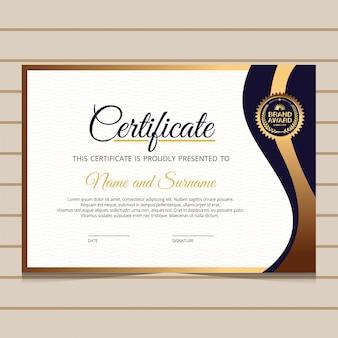 Elegancki niebieski i złoty szablon certyfikatu dyplomu