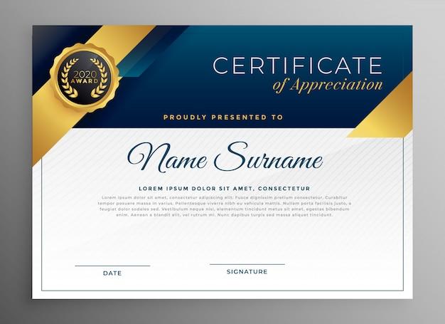 Elegancki, niebieski i złoty wzór szablonu certyfikatu