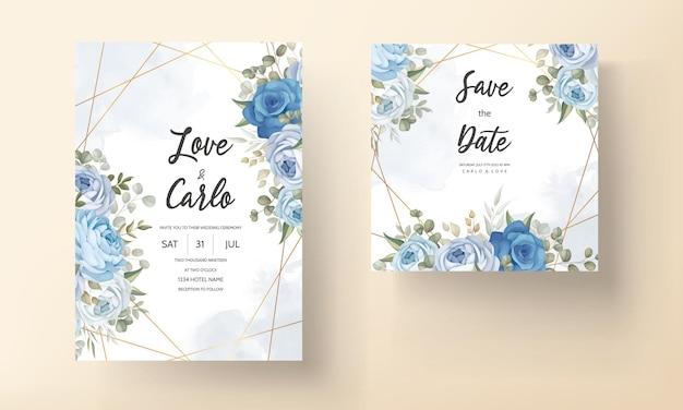 Elegancki niebieski kwiatowy zaproszenie na ślub szablon
