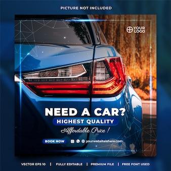 Elegancki niebieski szablon postu na wynajem samochodu na instagramie