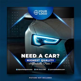 Elegancki niebieski szablon postu wypożyczalni samochodów na instagramie