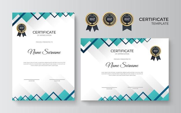 Elegancki niebieski zielony i złoty szablon certyfikatu dyplomu