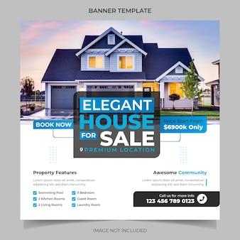 Elegancki nowoczesny dom marzeń do wynajęcia sprzedaż nieruchomości kampania szablon postu na instagramie w mediach społecznościowych