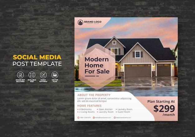 Elegancki nowoczesny dom na sprzedaż nieruchomości kampania social media post szablon