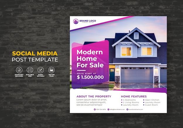 Elegancki nowoczesny dom na sprzedaż nieruchomości social media post szablon