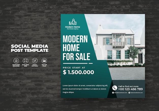 Elegancki nowoczesny dom wymarzeń dom na wynajem na sprzedaż nieruchomości kampania social media post szablon