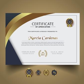 Elegancki, nowoczesny projekt szablonu certyfikatu