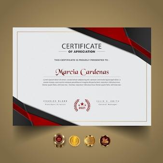 Elegancki nowoczesny szablon certyfikatu