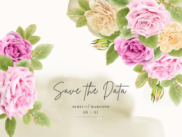 Elegancki odręczny rysunek zaproszenia ślubne z kwiatowym wzorem
