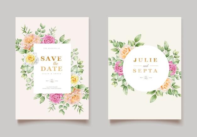 Elegancki odręczny rysunek zaproszenie na ślub kwiatowy wzór