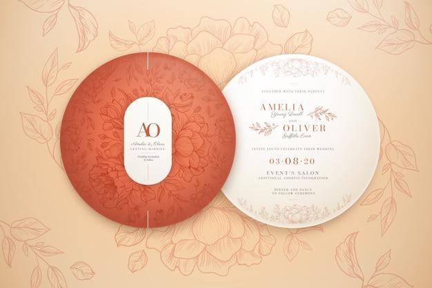 Elegancki okrągły szablon zaproszenia ślubne pakiet
