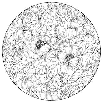 Elegancki ozdobny mandali kwiatowy tło