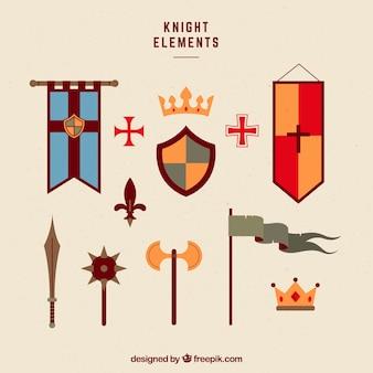 Elegancki pakiet kolorowych elementów średniowiecznych