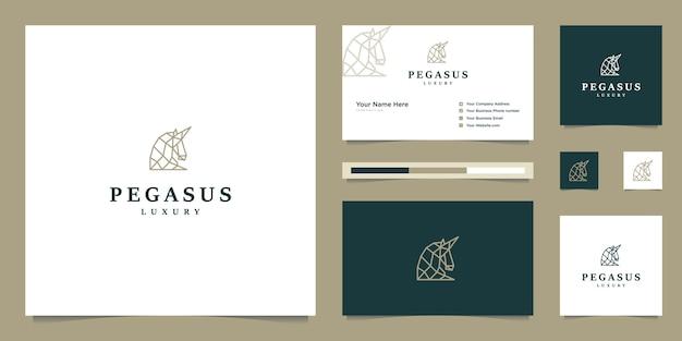 Elegancki pegaz. minimalistyczny koń premium. mityczna sylwetka w stylu pegaza, inspiracja projektowaniem logo premium.