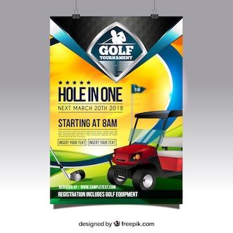 Elegancki plakat turniej golfowy