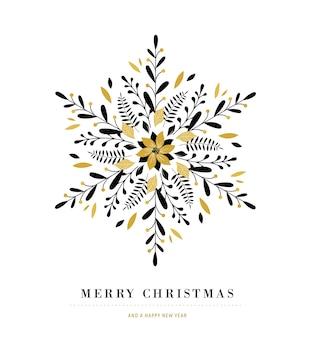 Elegancki płatek śniegu, ikona zima, szablon karty z pozdrowieniami wesołych świąt