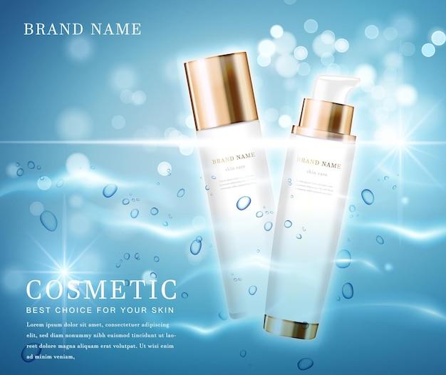 Elegancki pojemnik na butelki kosmetyczne z błyszczącą wodą połyskującą szablonem tła.