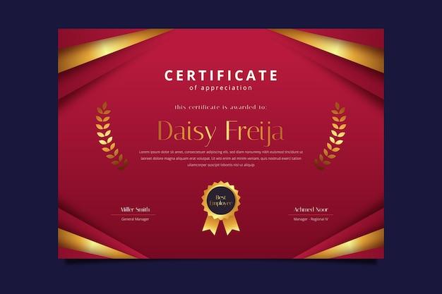 Elegancki poziomy szablon certyfikatu