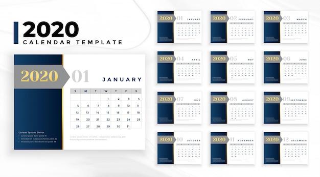 Elegancki profesjonalny szablon kalendarza biznesowego 2020