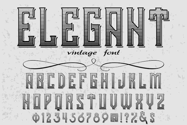 Elegancki projekt etykiety retro napis