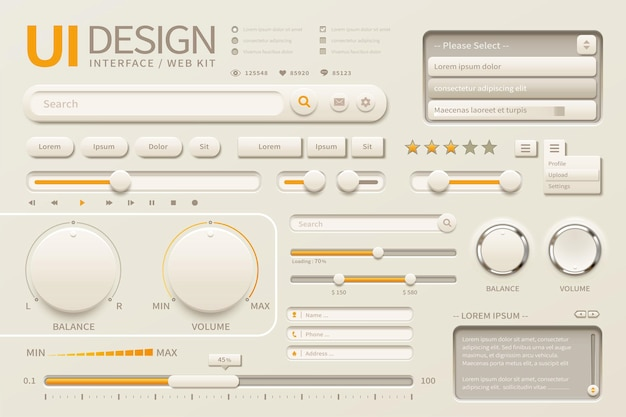 Elegancki projekt interfejsu użytkownika z różnymi przyciskami w beżowym i chromowanym żółtym odcieniu, ilustracja 3d