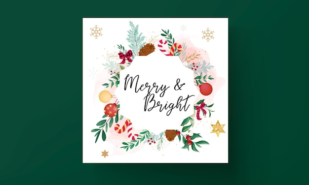 Elegancki projekt kartki świątecznej z ozdobami świątecznymi i pięknymi liśćmi