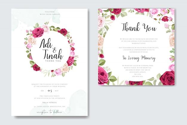 Elegancki projekt karty ślubne z szablonem wieniec piękne róże