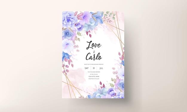 Elegancki projekt karty zaproszenie na ślub z kwiatami i liśćmi