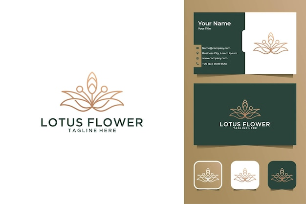 Elegancki projekt logo i wizytówka kwiat lotosu