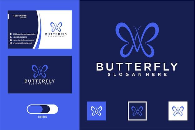 Elegancki projekt logo motyla i wizytówka