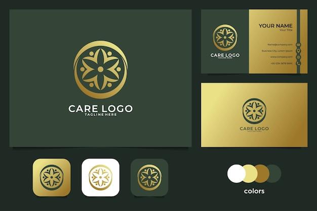 Elegancki projekt logo pielęgnacji i wizytówki. dobre wykorzystanie logo medycznego