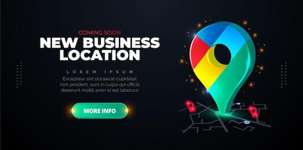 Elegancki projekt promocyjny przedstawiający nową lokalizację firmy