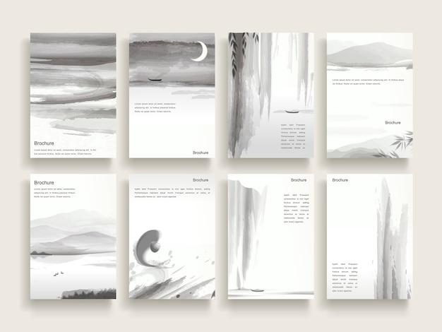 Elegancki projekt szablonu broszury z elementami pędzla