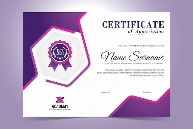 Elegancki projekt szablonu certyfikatu fioletowy