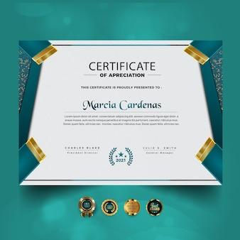 Elegancki projekt szablonu certyfikatu osiągnięć