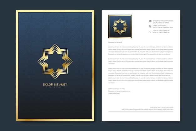 Elegancki projekt szablonu papieru firmowego w minimalistycznym stylu z logo.