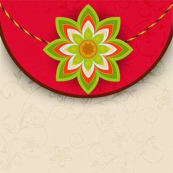 Elegancki projekt z życzeniami z pięknym rakhi na festiwal indyjski, happy raksha bandhan.