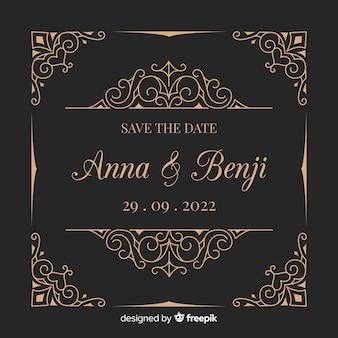 Elegancki projekt zaproszenia ślubne z ornamentami